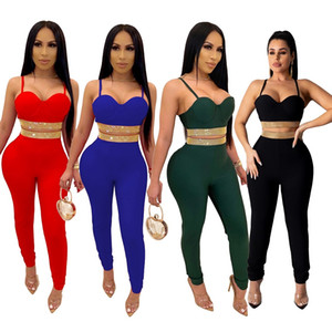 women sexy 2 two piece outfits sets Diamonds Glitter crop top halter bra skinny long pants Suits clubwear Nightclub Festival Party clothes