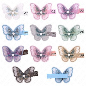 Bordado de mariposa horquilla tridimensional linda del pelo de la mariposa clip de las horquillas de las muchachas Headwear Gradiente de pelo Accesorios pernos D62803