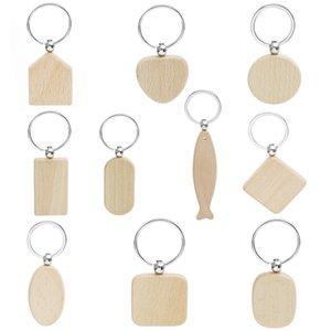 Novo Em Branco Rodada Retângulo de Madeira Chaveiro DIY Promoção Personalizado Chave De Madeira Chaveiros Brindes Promocionais