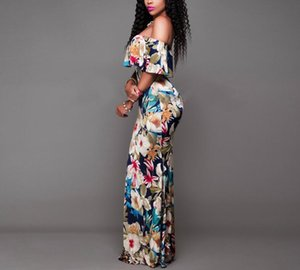 Women Boho Maxi Dress Summer Style Off Shoulder Ruffled Floral Print backless Long Dresses Feminine Floor Length Gown MX200518