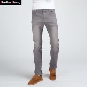 Kardeş Wang Erkekler İnce Moda Jeans Yüksek Kaliteli Erkek Elastik Gri Skinny Boş Jeans Marka