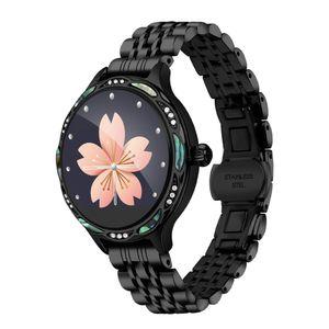 Señora de la manera M9 usable Mujeres inteligente del reloj del ritmo cardíaco Presión arterial Monitoreo IP68 a prueba de agua de Bluetooth 4.0 7 perla correa de acero inoxidable