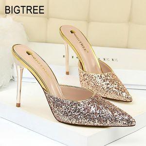 BigTree женщина насосов сексуальных ботинок высокой пятки острый нос сандалия женщины белого каблук леди обувь BigTree партия женщины