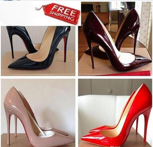 Toptan Eşya Fiyatları !!! Ücretsiz Nakliye Yani Kate Stilleri 8 cm 10 cm 12 cm Yüksek Topuklu ayakkabı Kırmızı Alt Çıplak Renk Hakiki Deri Noktası Toe Pompaları Kauçuk