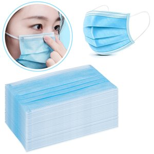Mascarillas con el oído del lazo de 3 capas de tela fundida por soplado facial Boca de la cubierta protectora no tejida máscara a prueba de polvo El bloqueo de la contaminación del polvo del aire