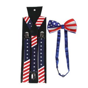 Unisex Amerikalı ABD Bayrağı Y-Geri Suspender Ön Bağlı Bow Tie Seti Yıldız Çizgili Baskı D08E