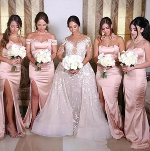 Blush Pink Satin Split Long Bridesmaid Dresses 2020 Off The Shoulder Ruched Plus Size Wedding Guest Floor Length Maid Of Honor Gowns BC3688