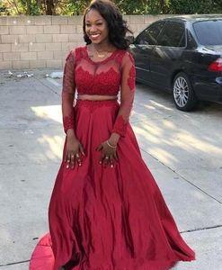 Afrikanische Zwei Stücke Prom Dresses Sheer Neck Long Sleeves Appliques Spitze Satin Partykleid Plus Size Schwarz Mädchen Kleider Pageant Abendkleider