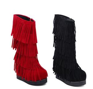Yeni Varış Sıcak Satış Kampanyalar Süper Moda Akını Martin Artı Kadife Pamuk Kadın Kış Süet Püsküller Kalın Alt Kama Çizmeler EU34-39