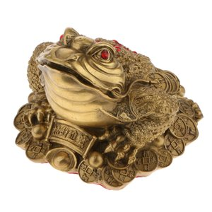 Brass Gold Toad Feng Shui Craft Ruby Coin Lucky Fortune Miniature Frog Wealth Collectible Ornament Gift