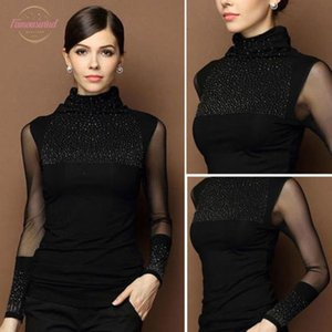 M-3XL Sexy Lace Tops Autumn 2020 blusas new Slim Plus size lace T-Shirt long sleeve Casual shirt beaded openwork Women clothing