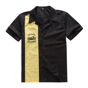 Herren Arbeitshemden Online Vintage Rock 40's Western Style Gelb Cowboy Kurzarm Hip Hop Party Club Shirt mit Stickerei