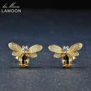 Orecchini Lamoon Bee orecchini per le donne argento 925 citrino della pietra preziosa Orecchini 14K placcato oro giallo Belle LMEI041 Jewelry