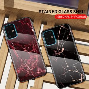Slim Marmo telefono caso della copertura in vetro temperato per la galassia S20 Ultra S20 + S10 Inoltre S10E Nota 10 Plus A71 A51 A70 A50