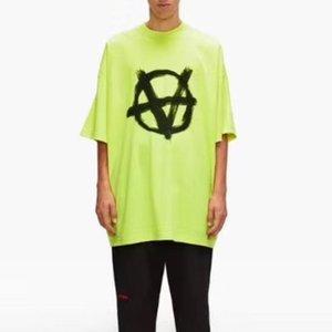 20ss VT stampa di marchio anti-guerra Serie manica corta di alta qualità uomini e donne girocollo Estate cotone verde fluorescente maglietta HFXHTX139