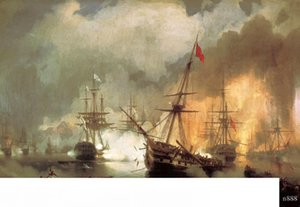 Ivan Constantinovich Aivazovsky Battle of Navarino,Handpainted & HD Print Antique Oil Painting On Canvas home Decor Multi Sizes Frame p52