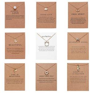 Colar de jóias CR Colar desgastado com cartão de presente Elefante Pérola Amor Asas Cross Cruz Chave Sinal do Zodíaco Compasso Lotus Pingente para mulheres
