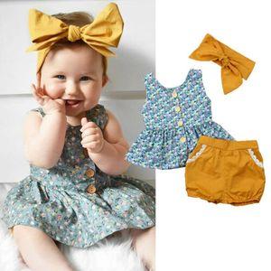 Vêtements de bébé pour fille d'été Floral Hauts sans manches Shorts Bandeau New Born Set Infant Clothing Set Toddler Set Roupa Infantil