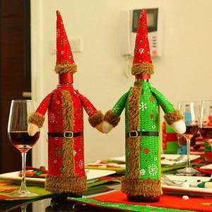 Vinho do Natal Garrafa cover Designer Plush Red roupa verde boné de garrafa da cerveja Capa de Natal do vinho Início Restaurant Decor HHA948