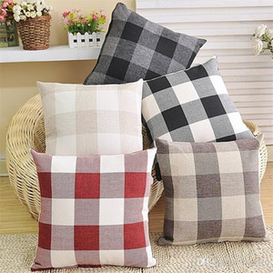 Rejilla cuadrada caja de la almohadilla de doble cara de lino enrejado de fundas de almohada de alta gama amortiguadores del coche del sofá de la funda de almohada IA913