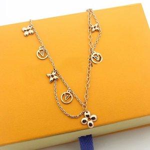 2020Hot Sale Fashion Jewelry Sets Lady 316L Titanium steel Four Leaf Flower V Letter 18K Plated Gold Double Deck Necklaces Bracelet Earrings