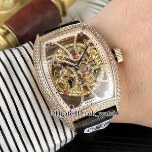 Alta qualità 8880 B S6 SQT D Collezione da uomo Diamond bezel Skeleton Dial Tourbillon Automatic Mens Watch Cassa in oro rosa Cinturino in pelle Orologio