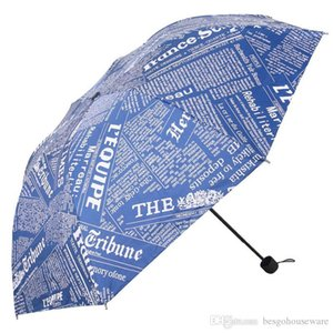 Men Portable Vinyl Umbrellas Retro Newspaper Printed Three Folding Umbrella Sunny Rainy Women UV Protection Windproof Umbrella BH1396 TQQ