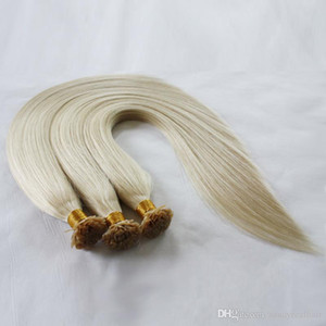 Nail Tip Human Hair Extensions Malaysian Virgin Hair Keratin Nail Tip Remy Bleached Blonde Color 60# 18'' 20'&#039