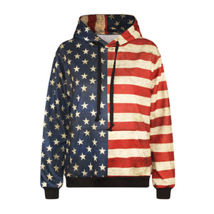 hoodies europeus e americanos de impressão digital de bandeira americana encapuzados