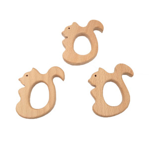 자연 우드 다람쥐 Teether 만화 동물 모양의 나무로되는 아기 Teether 장난감 안전 신생아 키즈 Teething Toys Baby Shower Gift