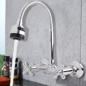 Xueqin 360 rotação bica 2 modos de torneira da bacia do banheiro torneira da cozinha da parede de latão torneira da pia torneiras misturadoras de água fria / quente
