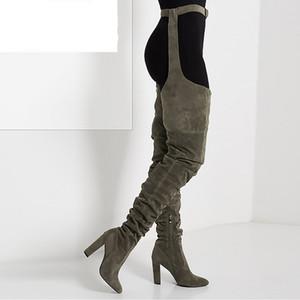 Mulheres plissadas Flock Over The Knee Coxa alta botas longas Lady moda cinto grosso dos saltos altos do dedo do pé Pointed botas altas