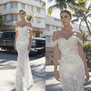 Robes de mariée sirène Netta Ben Shabu dentelle hors épaule Appliques Vintage robes de mariée avec des perles Designer robe de mariée sur mesure