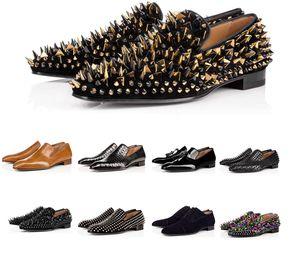 Venta caliente para hombre inferior rojo Diente de león Spikes Designer Shoes Greggo Orlato planas zapatos de charol Negro zapatos Sude Terciopelo del holgazán de moda para fiestas