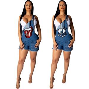 2019 verão novas tiras denim macacão grandes olhos estiramento vaqueiro calções casuais mulheres roupas Macacão Macacão Calças Playsuit Macacão Coágulo