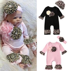 Leopard Flor Focusnorm 0-24 M 2 piezas de Bebé recién nacido ropa 3D Pétalo Romper Playsuit Hat / diadema Outfit