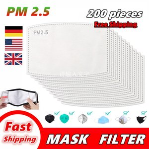 200 PCS PM2.5 Filter for Mask Anti Haze Mouth Masks Replaceable Filter-slice 5 Layers Non-woven Activated Carbon Filter face Mask Gasket 002