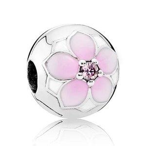 Pink Enamel Magnolia Poetic Cherry Bloom Daisy Flower Clip Stopper Beads Fit Pandora Bracelet 925 Sterling Silver Charm Jewelry