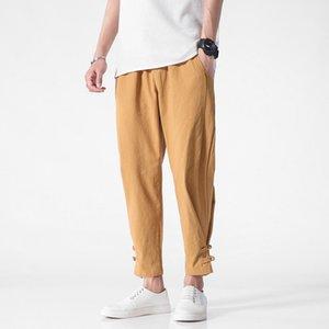 2019 verão japonês de estilo Origional Casual Calças soltas e Plus-size Sólidos Pants Men Cor Fina Tendência Verão