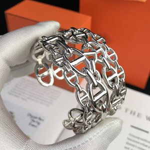 Hot 925 Marque pur bijoux en argent sterling ovale de verrouillage Croix d'argent Bracelet manchette en fer à cheval Bangle Bijoux de mariage Big Cuff