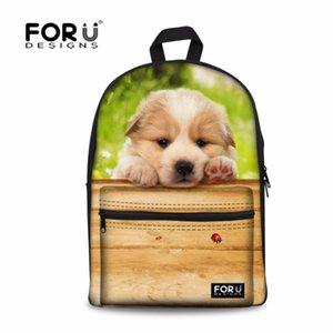 FORUDESIGNS Cute Pet Labrador Printed Casual Backbag Student Canvas School Backpack Fashion Women Travel Rucksack Kids Mochila