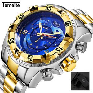 Relogio TEMEITE 2018 Nueva relojes de cuarzo para hombre creativo de la manera pesada a prueba de agua reloj de pulsera de lujo de oro lleno azul de acero Masculino