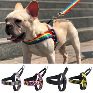 Küçük Orta Köpekler Eğitim Yürüyüş Yelek Koşum için No-Pull Pet Köpek Harness Tasmalar Ayarlama Renkli Desen Kolay Kumanda Kolu
