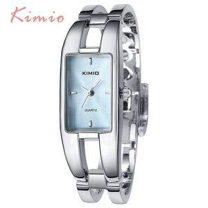 2020 venta caliente KIMIO de lujo de las mujeres relojes de cuarzo impermeable hueco del acero inoxidable pulsera cuadrada relojes de señoras de Montre femme