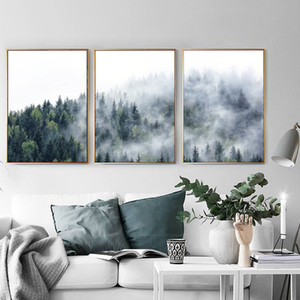 Misty Forest Mountain Canvas Painting Fog Picture Wild Tree Landscape Poster and Print for Living Room Scandinavian Home Decor