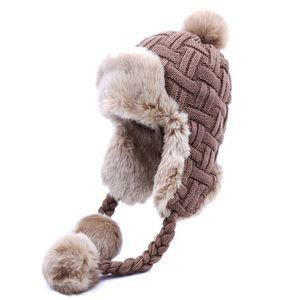 Women Trapper Hats Winter Warm Faux Fox Fur Bomber Hat Beanies Russian Ushanka Wool Knit Pom Pom Earflaps Aviator Caps