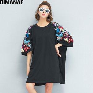 Dimanaf camiseta de las mujeres más el tamaño de verano de gran tamaño grande de algodón negro bordado floral o-cuello tops femeninos camisetas sueltas 2018 Y19060601