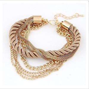 Mode-mehrschichtige Charme-Armband-Übertriebene Goldkette Armband Femme Weinlese-Punk Handweb Seil-Armbänder Statement Schmuck