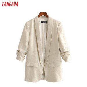 Abiti da donna Blazer Tangada Donna Vintage Solid Cotton Blazer Femminile Manica lunga Elegante Giacca Elegante Ladies Wear Form Forgrampal 3H451