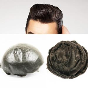"Eversilky Slight Wave Natural Hairline 100% Human Hair 8x10"" Replacement Wigs PU Hair Pieces Human Hair Medium Light Density Mens Toupee"